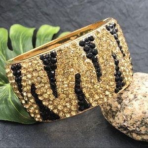 Tiger Stripe Print Wide Animal Hinged Bracelet